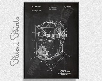 Head protector 1960 Patent Print, Hockey Poster, Sports Poster, Hockey Blueprint, Hockey Print, Sports Print