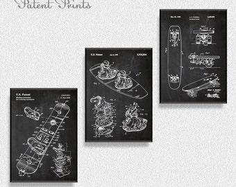Boards Set of 3 Prints, Mountain Home Decor, Ski Wall Art, Snow Ski, Patent Print, Sports Wall Decor, Snowboard Wall Art, Snowboard Decor