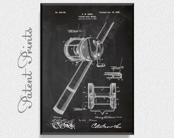 Fishing Reel Brake 1899 Patent Print, Fishing Prints, Fishing Posters, Fishing Blueprints, Fishing Art, Fishing Wall Art, Fishing Decor