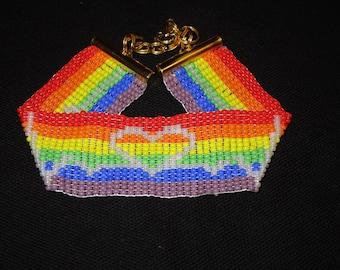 Handmade Bracelet, My heart beats with PRIDE, Loom Beaded
