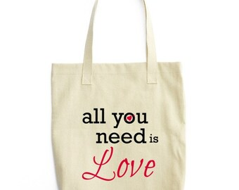Tote bag/All you need is LOVE/Tote/Canvas Tote/Bag