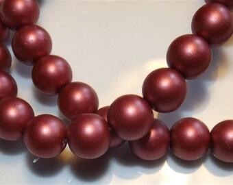 Satin effect glass beads. 10 mm/10pcs 6 mm/35pcs