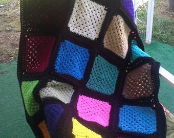 Crocheted Black Kaliedescope Throw