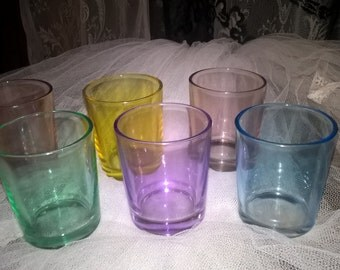 Retro rainbow colours shot glasses.