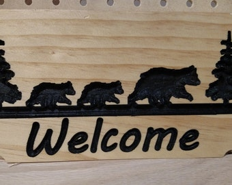Small Bear Family Welcome Sign