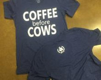Coffee Before Cows screenprinted vneck tshirt faded navy triblend shirt.  Great for the farmer or show mom!