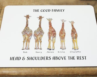 Personalised Giraffe Family Placemat