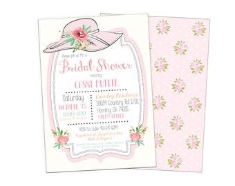 Bridal Tea or Brunch, Bridal Shower Invitation Printable, Derby Hat, Floral, Shabby Chic