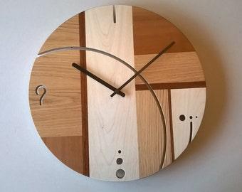 wooden wall clock and wall inlaid plexiglass