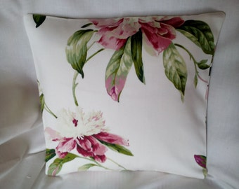 100% Cotton,  Burgundy/White Floral, Cushion/Pillow Cover 30 x 30 cm