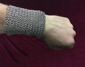 Chainmail stainless steel bracelet / cuff height stainless steel mesh