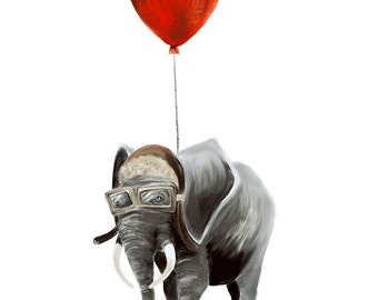 Elephant with Balloons Giclee Print
