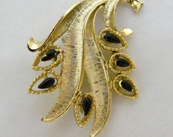 Vintage 60s Rhinestone Leaf Brooch, Rhinestone Brooch, Leaf Brooch, Leaf Pin, Mid Century, Vintage Costume Jewelry, Free Shipping