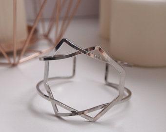 Cuff bracelet Silver Gold twist