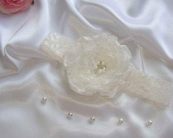 A Pretty Ivory Organza, Rhinestone & Pearl Headband