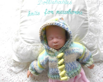 "1.5lb Baby or 12"" Reborn Doll's Hand Knitted Boy's Hooded Jacket"