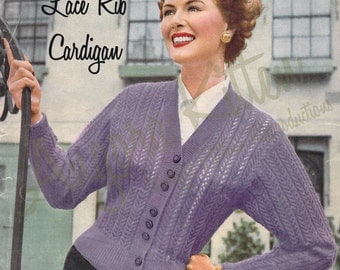 Vintage Knitting Pattern for Women - Lace Rib Cardigan - Instant Download - Bust Size 34/36