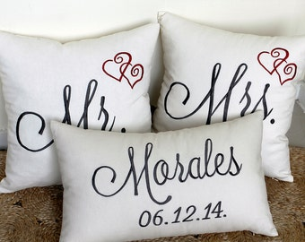 Mr. & Mrs. Pillow Covers with Last Name and Wedding Date for Wedding, Anniversary and Birthday Gifts for Couple.