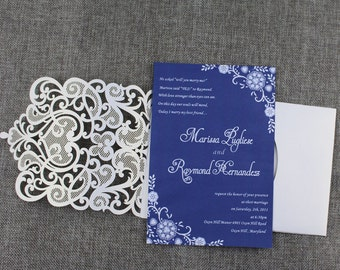 Navy Blue laser cut wedding invitations, Lace Wedding Invitations, Laser Cut Invites