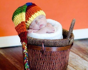 Crocheted sleeping cap pixie hat long tail