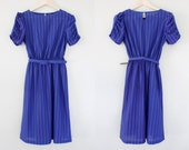 70's Blue Dress Stripes Polka Dots Belted Work Outfit Office Attire Polyester Small