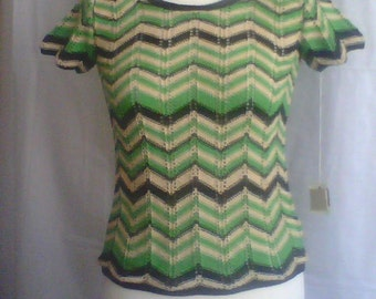 Sale! Sale! Vintage 30 s. Zig -Zag style. Knited ladies blouse. Art Deco.  Fashion style 30s. Perfekt gift for monan