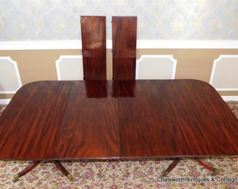 Antique 19th Century English Double Pedestal Regency Dining Room Table w/ Leaves