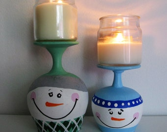 Hand-Painted Cognac Glass Candleholders, featuring Snowmen