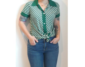 Vintage 70s striped button down shirt // green and white // size small ( S ) - medium ( M )
