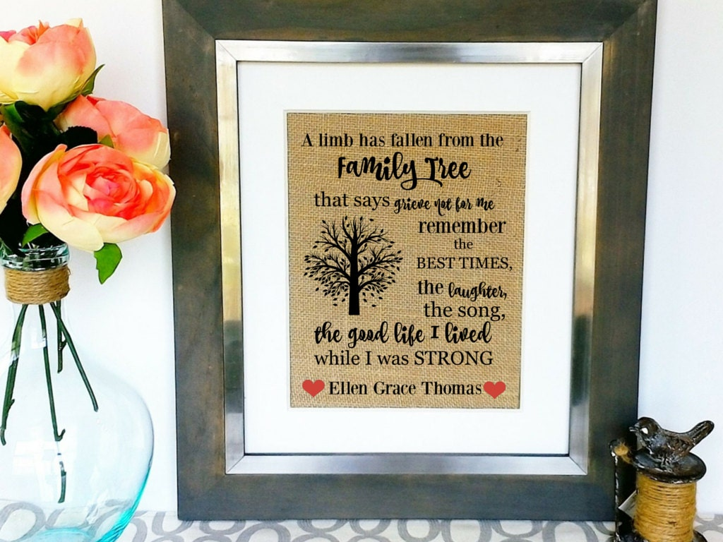 Personalized Sympathy Gift Concolence Gifts Memorial Burlap