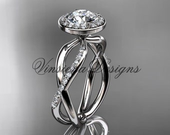 "14kt white gold engagement ring, ""Forever One"" Moissanite VD10079"