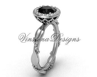 14kt white gold diamond leaf and vine engagement ring, Black Diamond VF301022