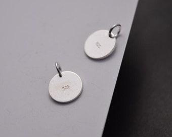10 pcs sterling silver 10mm round disc coin charm pendant  , LI1
