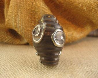 Lampwork Glass Bead - Plum Silver Bicone (001-10W4)