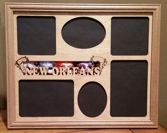 11x14 New Orleans Laser Engraved Picture Frame with 6 Photo Holes