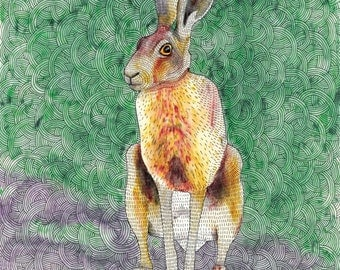 Hare - card OR mounted print - british wildlife illustration / lucky hare / green and gold / fast