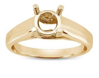 Trellis Engagement Ring Setting in 18K Gold, Yellow Gold Ring, Solitaire Ring Setting, Engagement Ring Setting, Four Prong Ring Setting
