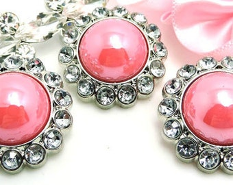 Shiny AB PINK Pearl Buttons W/ Crystal Clear Surrounding Rhinestones Sewing Buttons Garmet Dress Buttons 26mm 3185 55P 2R