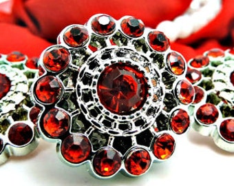 RED Rhinestone Buttons Acrylic Rhinestone Buttons Pin Wheel Shaped Rhinestone Buttons Coat Buttons Fashion Buttons 26mm 3186 3R