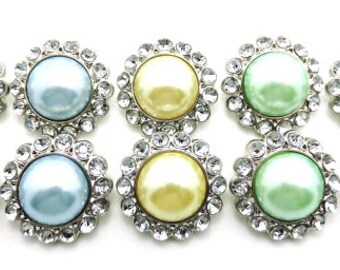 Pastel Pearl Buttons W/ Clear Surrounding Acrylic Rhinestones Embellishments Garment Wedding Coat Buttons  26mm 3185