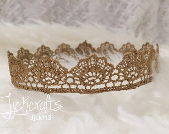 Newborn baby gold lace crown photography props