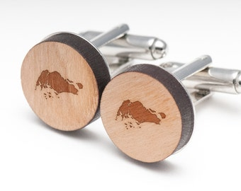 Singapore Wood Cufflinks Gift For Him, Wedding Gifts, Groomsman Gifts, and Personalized
