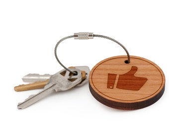 Thumbs Up Keychain, Wood Keychain, Custom Keychain, Gift For Him or Her, Wedding Gifts, Groomsman Gifts, and Personalized