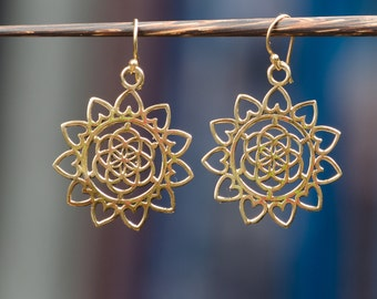 Lotus Heart Mandala Earrings
