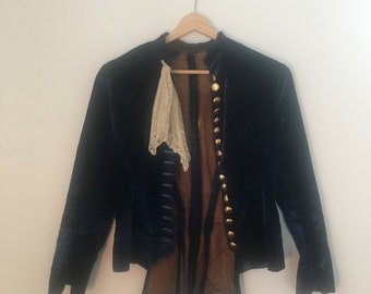 Victorian Theatre Jacket // Blue Velvet, Golden buttons, and Handkerchief Detail