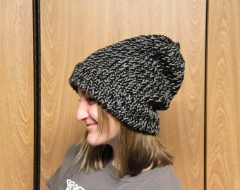 COUPON! (Look Below) Loom Knitted Hat - Gray and Black: XLarge