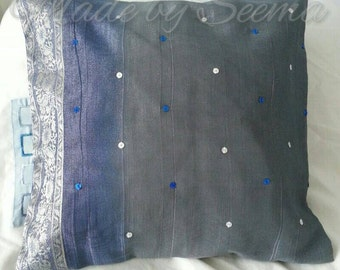 SALE!! Handsewn sari fabric cushion cover. 35x35cm in a pretty blue and silver shimmery sari fabric with added handsewn sequins.