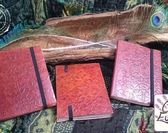 Handmade Embossed Moleskin Notebook with Elastic Closure