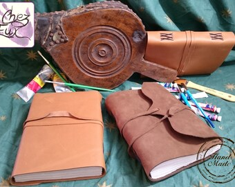 Handmade Soft Leather Wrap-Around Journal / Notebook with Leather Thong Closure