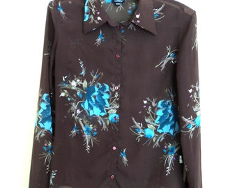 Brown Blouse with Flowers (vintage 90s)